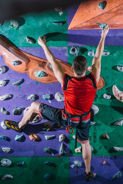 Professional climber in gym Free Photo