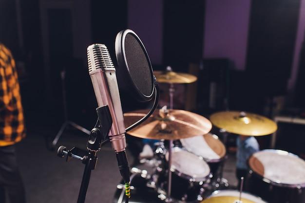 Professional condenser studio microphone, musical concept. recording Premium Photo