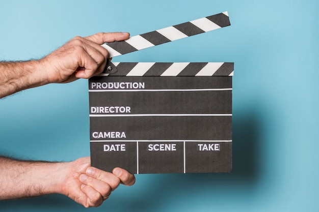 Professional hollywood film clapperboard; being used on location Premium Photo