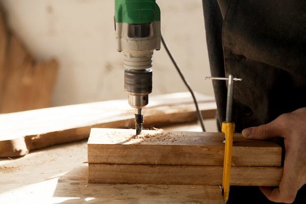 Professional instruments for woodworking concept Free Photo