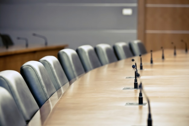 Professional microphone in the meeting room Premium Photo