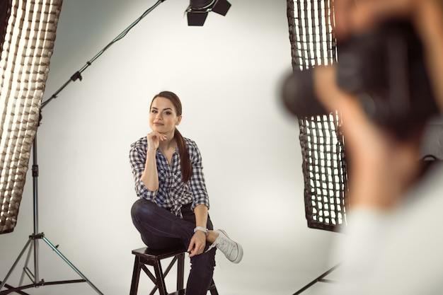Professional photo shooting at the studio Premium Photo