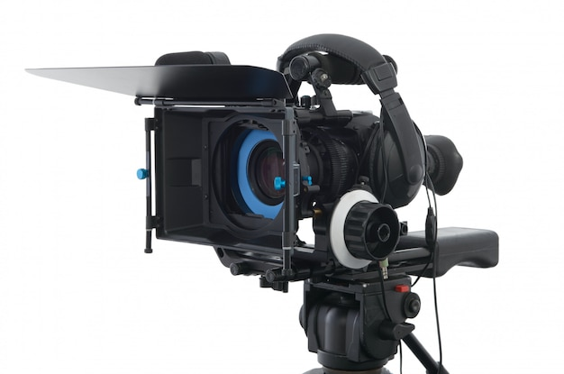 Professional video camera on the white Premium Photo