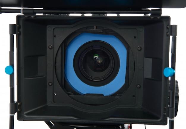 Professional video camera on white Premium Photo