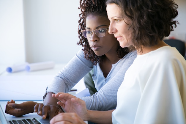 Professional woman showing software specifics to colleague Free Photo