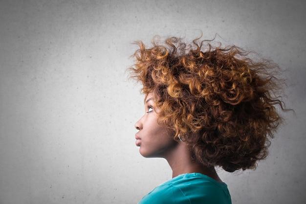 Profile of an afro girl Premium Photo