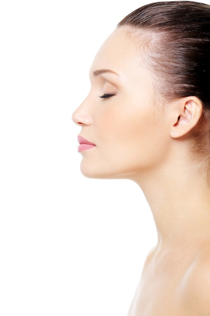 Profile portrait of  female face with clean skin Free Photo