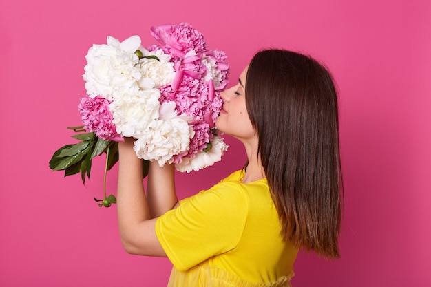 Premium Photo Profile Of Tender Beautiful Cute Female Holding Flowers In Both Hands Closing Her Eyes Raising White And Pink Peonies Feeling Smell Of Them Getting Pleasure From Present People And,House Renovation Before And After Pictures