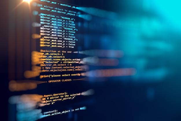 소프트웨어 개발자 및 컴퓨터 스크립트의 프로그래밍 코드 추상 기술 배경 프리미엄 사진