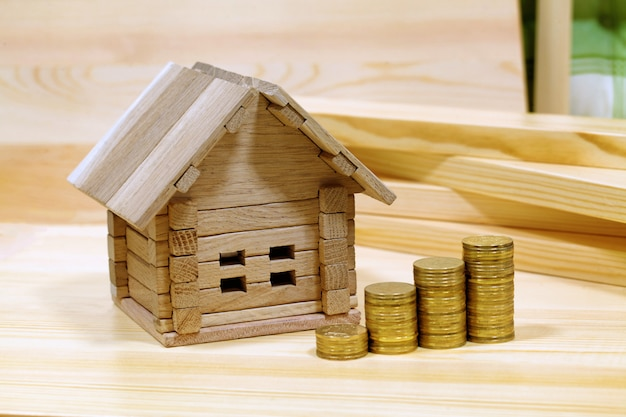 Project cozy house. money for the building and details of the new building Premium Photo
