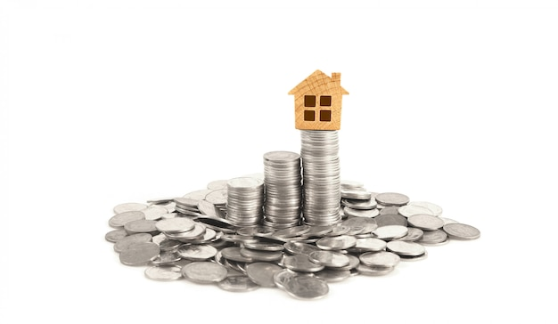 Property investment and house mortgage financial conceptmoney coin stack Premium Photo