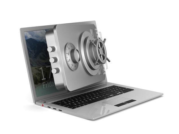 Защищенный ноутбук. изолированный 3d-рендеринг Premium Фотографии