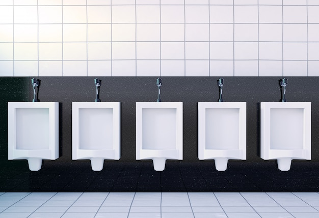 Public men's toilet room interior with white urinals, 3d rendering Premium Photo