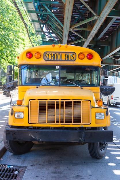 Public school bus on the road Premium Photo
