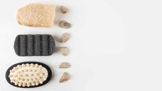 Pumice Stone Massage Brush Loofah And Spa Stones Isolated