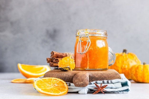 Pumpkin confiture with oranges and spices. Premium Photo