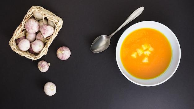 Pumpking soup and garlic Free Photo