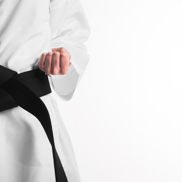 Punch of fighter with black belt Premium Photo