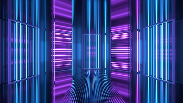 Фиолетовый и синий неоновый фон появляется и исчезает Premium Фотографии
