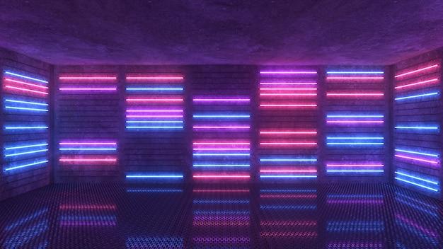 紫と青のネオンの背景が表示されたり消えたりします Premium写真