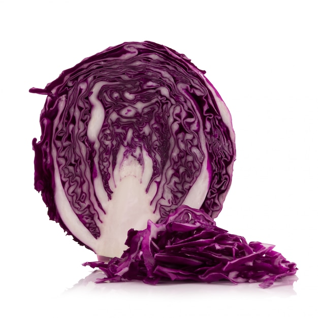 Purple cabbage isolated on white Premium Photo