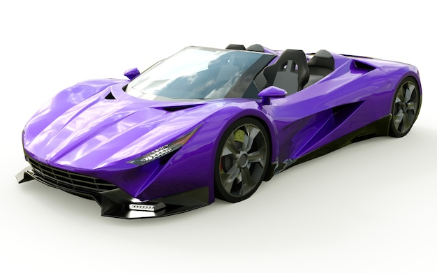 Purple conceptual sports cabriolet for driving around the city and racing track. 3d rendering. Premium Photo