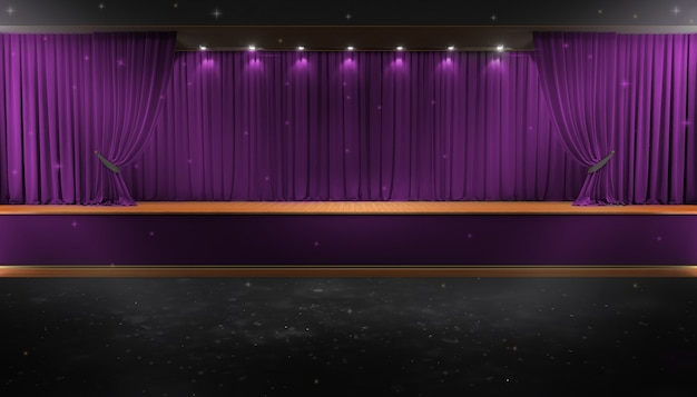 Purple curtain and a spotlight. festival night show poster Premium Photo