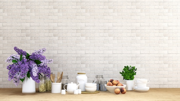 Purple Flower With Kitchen Set On Brick Background 3d Rendering