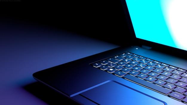 紫色のラップトップの3 dイラストレーション。カラーピンクパープルライトディスプレイを備えたブラックデスクラップトップコンピューター。 Premium写真