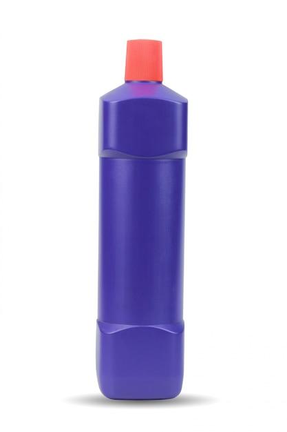 Purple plastic bottle isolated on white background. Premium Photo
