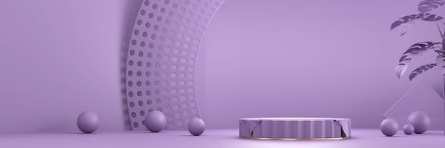 製品の現在の背景3 dレンダリングのための紫色の製品ステージ表彰台プラットフォーム Premium写真