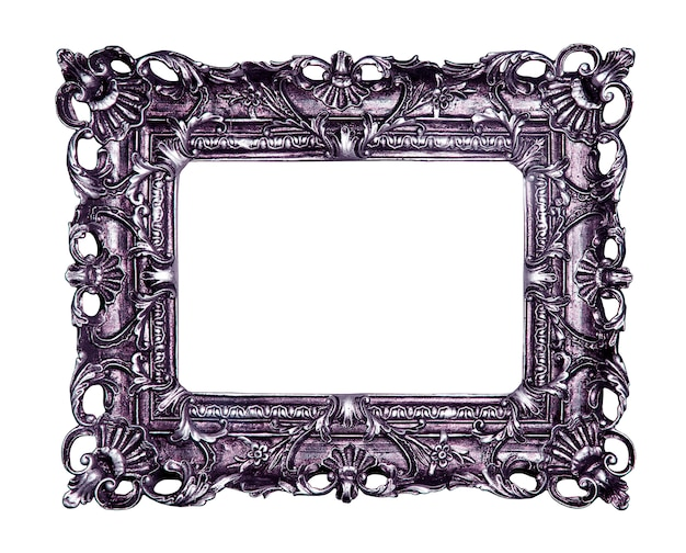 Purple vintage picture and photo frame isolated on white background Premium Photo