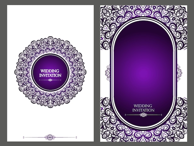 Purple wedding card Premium Photo