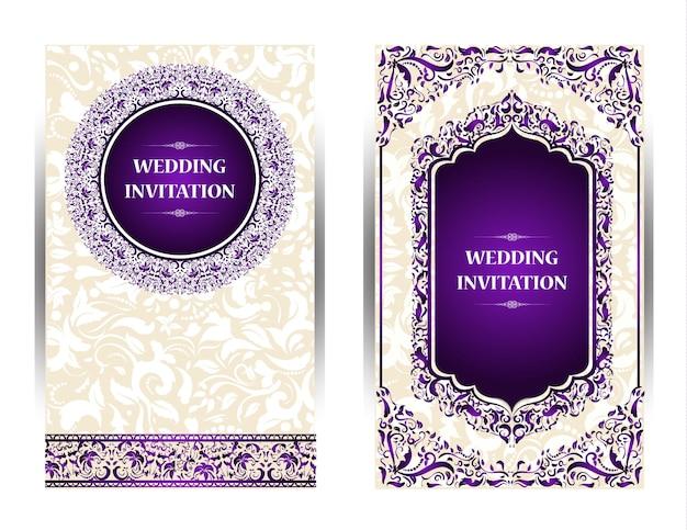 Purple wedding card Premium Photo