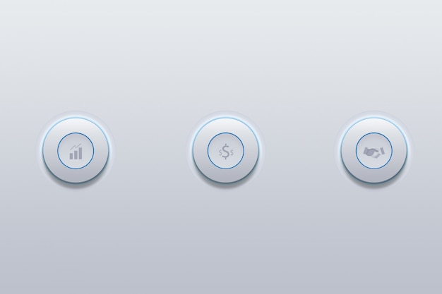 Push button icon of business from success symbol on gray. Premium Photo