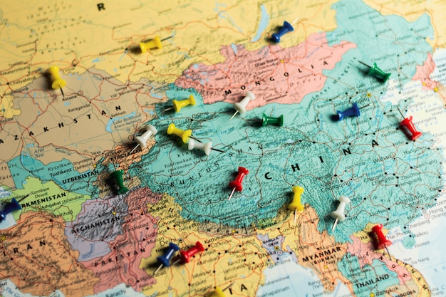 World Map With Pins Push Pins On World Map Photo Premium Download