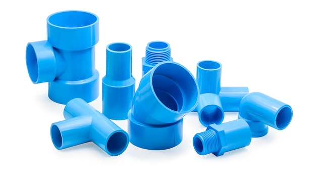 Pvc pipe connections and pipe clip isolated Premium Photo