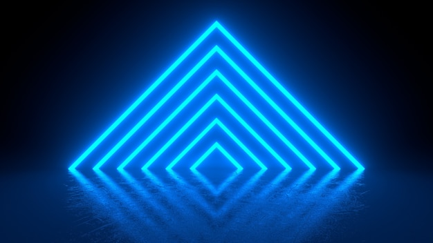 Pyramid consisting of blue neon glowing light stripes on black background. Premium Photo