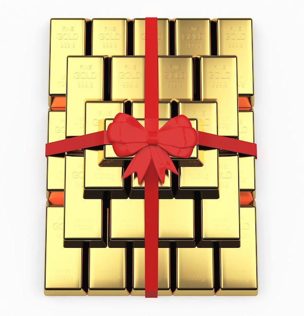 Pyramid of gold bars as a gift Premium Photo