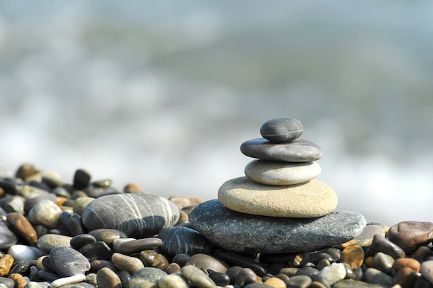 A pyramid of sea stones Premium Photo