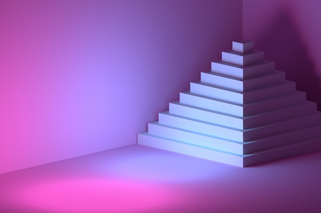 Pyramid with multiple steps in a pink blue room Premium Photo