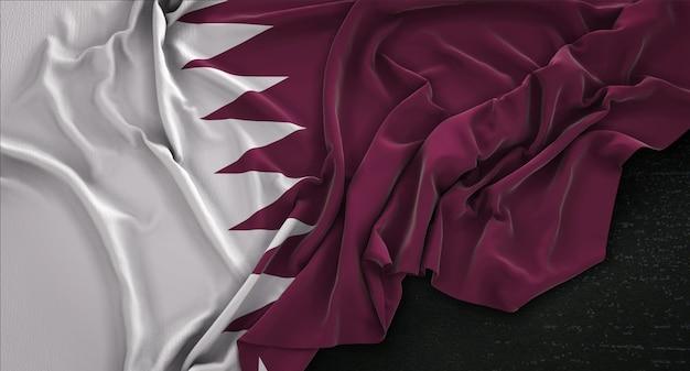 Qatar flag wrinkled on dark background 3d render Free Photo