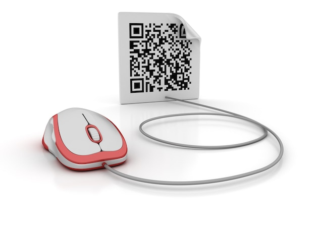 Computer mouse connected to QR