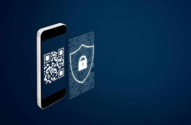 Мобильная система проверки и технология сканирования сканирования qr-кода Premium Фотографии
