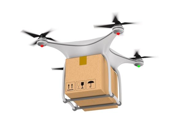 Квадрокоптер с грузовым ящиком на белом. изолированные 3d иллюстрации Premium Фотографии