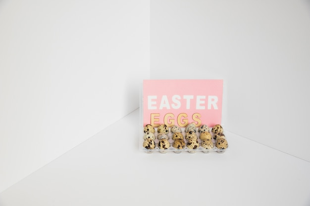 Quail eggs for easter in rack Free Photo