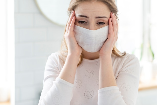 Quarantine daily activities and woman with mask Free Photo