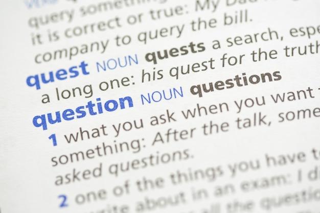 Quest and question definition Premium Photo
