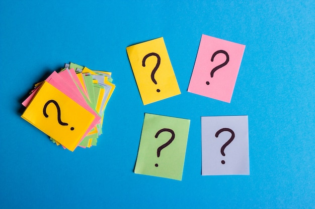 Question marks written reminders tickets Premium Photo
