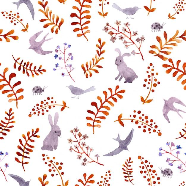 ウサギ、鳥、てんとう虫、紅葉。かわいい頭が変なパターンを繰り返します。水彩 Premium写真